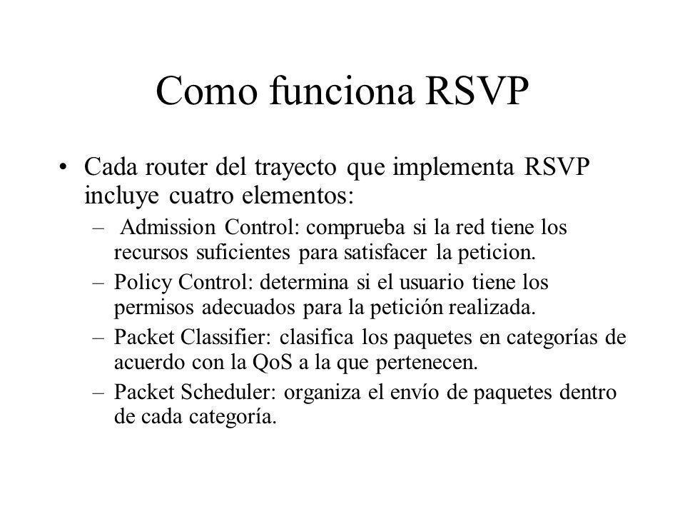 Como funciona RSVP Cada router del trayecto que implementa RSVP incluye cuatro elementos: – Admission Control: comprueba si la red tiene los recursos