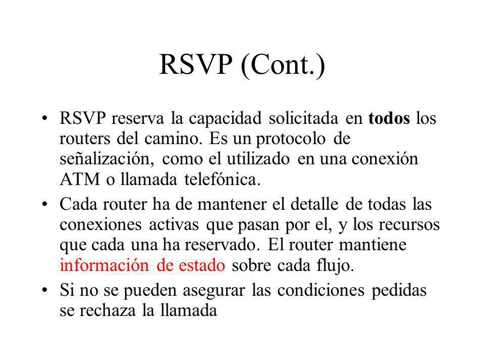 RSVP (Cont.) RSVP reserva la capacidad solicitada en todos los routers del camino. Es un protocolo de señalización, como el utilizado en una conexión