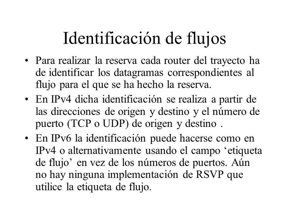 Identificación de flujos Para realizar la reserva cada router del trayecto ha de identificar los datagramas correspondientes al flujo para el que se h