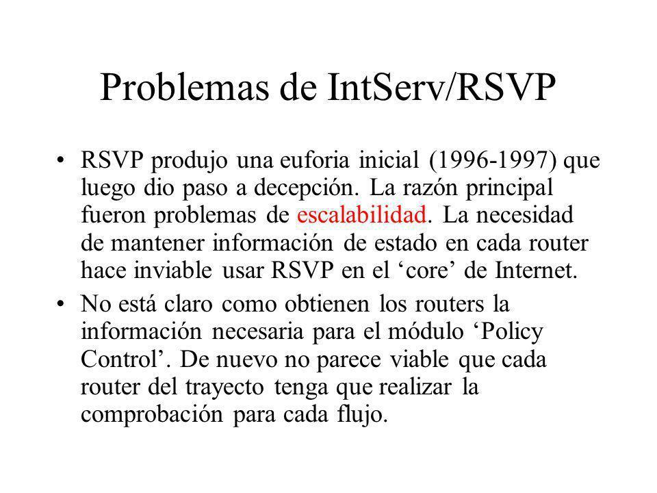 Problemas de IntServ/RSVP RSVP produjo una euforia inicial (1996-1997) que luego dio paso a decepción. La razón principal fueron problemas de escalabi
