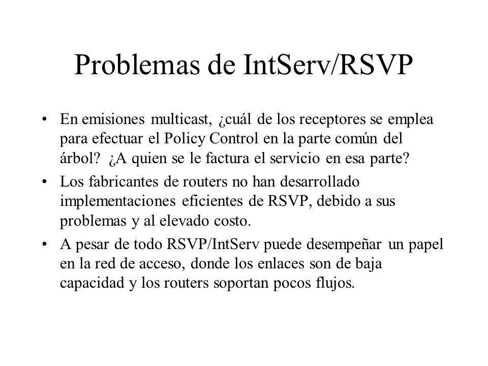 Problemas de IntServ/RSVP En emisiones multicast, ¿cuál de los receptores se emplea para efectuar el Policy Control en la parte común del árbol? ¿A qu