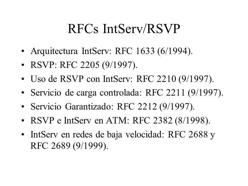RFCs IntServ/RSVP Arquitectura IntServ: RFC 1633 (6/1994). RSVP: RFC 2205 (9/1997). Uso de RSVP con IntServ: RFC 2210 (9/1997). Servicio de carga cont