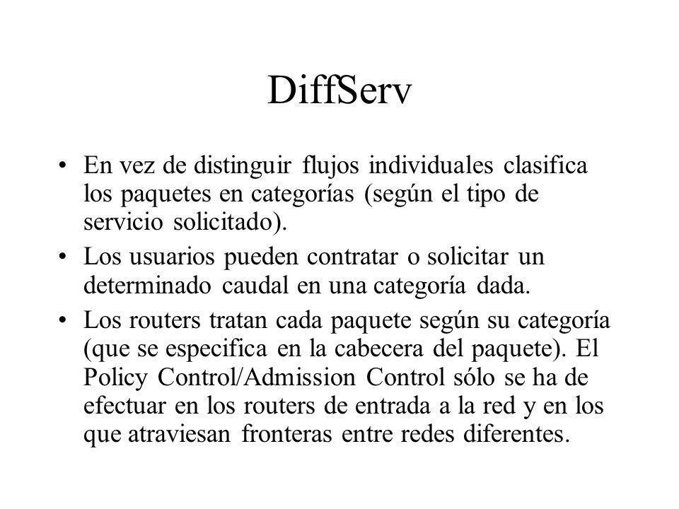 DiffServ En vez de distinguir flujos individuales clasifica los paquetes en categorías (según el tipo de servicio solicitado). Los usuarios pueden con