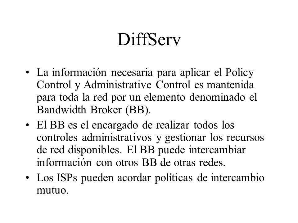DiffServ La información necesaria para aplicar el Policy Control y Administrative Control es mantenida para toda la red por un elemento denominado el