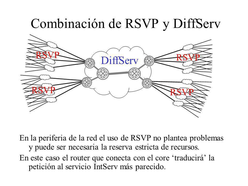 Combinación de RSVP y DiffServ En la periferia de la red el uso de RSVP no plantea problemas y puede ser necesaria la reserva estricta de recursos. En