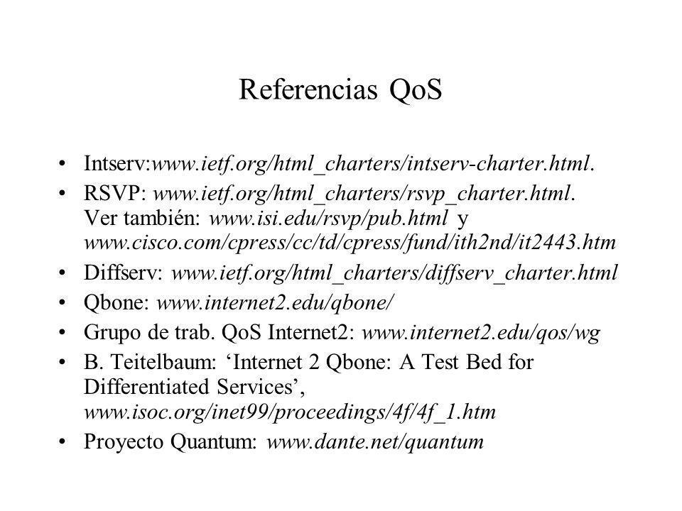 Referencias QoS Intserv:www.ietf.org/html_charters/intserv-charter.html. RSVP: www.ietf.org/html_charters/rsvp_charter.html. Ver también: www.isi.edu/