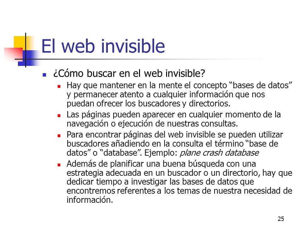 25 El web invisible ¿Cómo buscar en el web invisible? Hay que mantener en la mente el concepto bases de datos y permanecer atento a cualquier informac