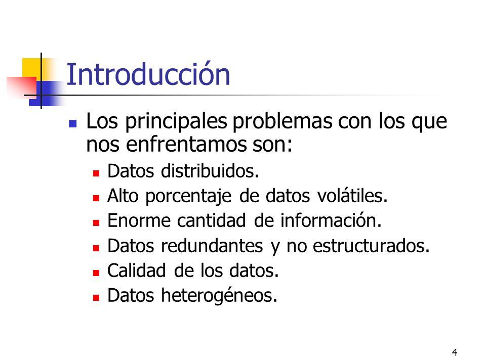 4 Introducción Los principales problemas con los que nos enfrentamos son: Datos distribuidos. Alto porcentaje de datos volátiles. Enorme cantidad de i