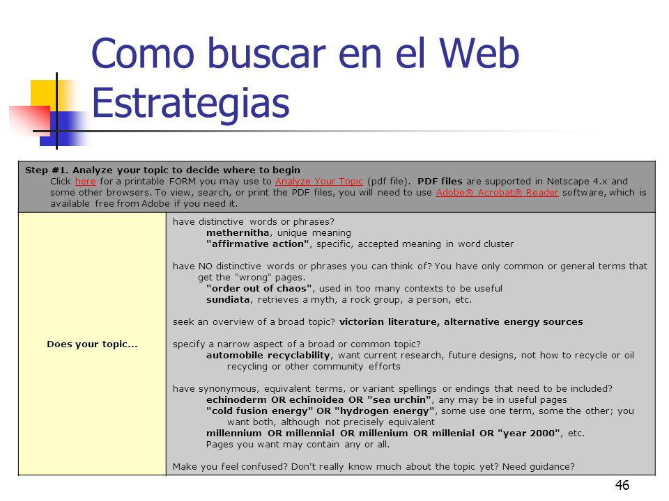 46 Como buscar en el Web Estrategias Step #1. Analyze your topic to decide where to begin Click here for a printable FORM you may use to Analyze Your