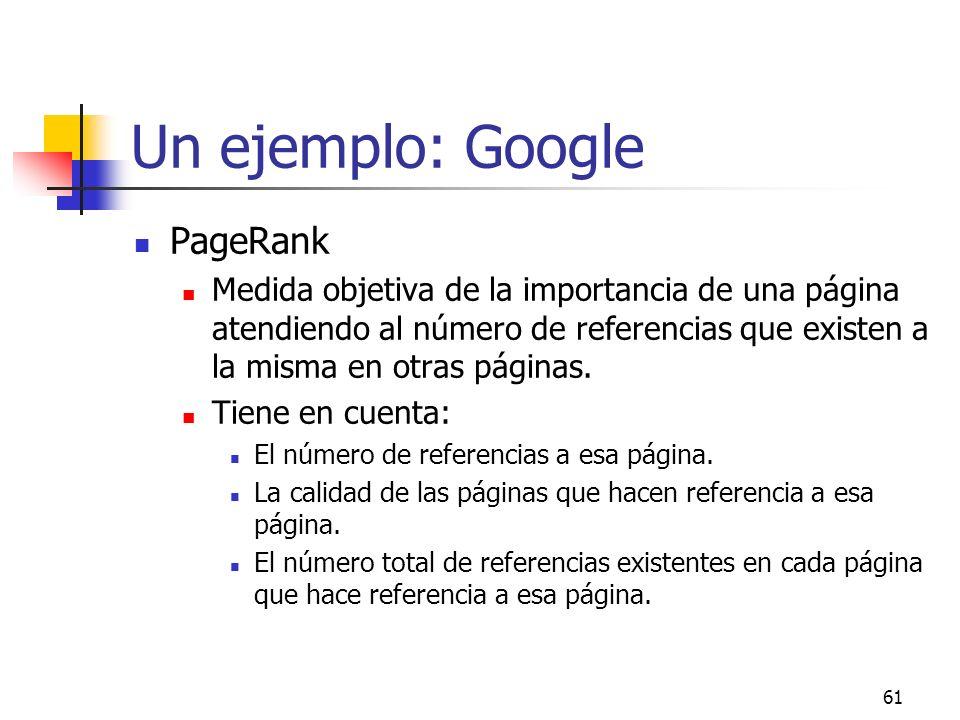 61 Un ejemplo: Google PageRank Medida objetiva de la importancia de una página atendiendo al número de referencias que existen a la misma en otras pág