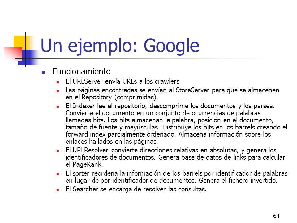 64 Un ejemplo: Google Funcionamiento El URLServer envía URLs a los crawlers Las páginas encontradas se envían al StoreServer para que se almacenen en