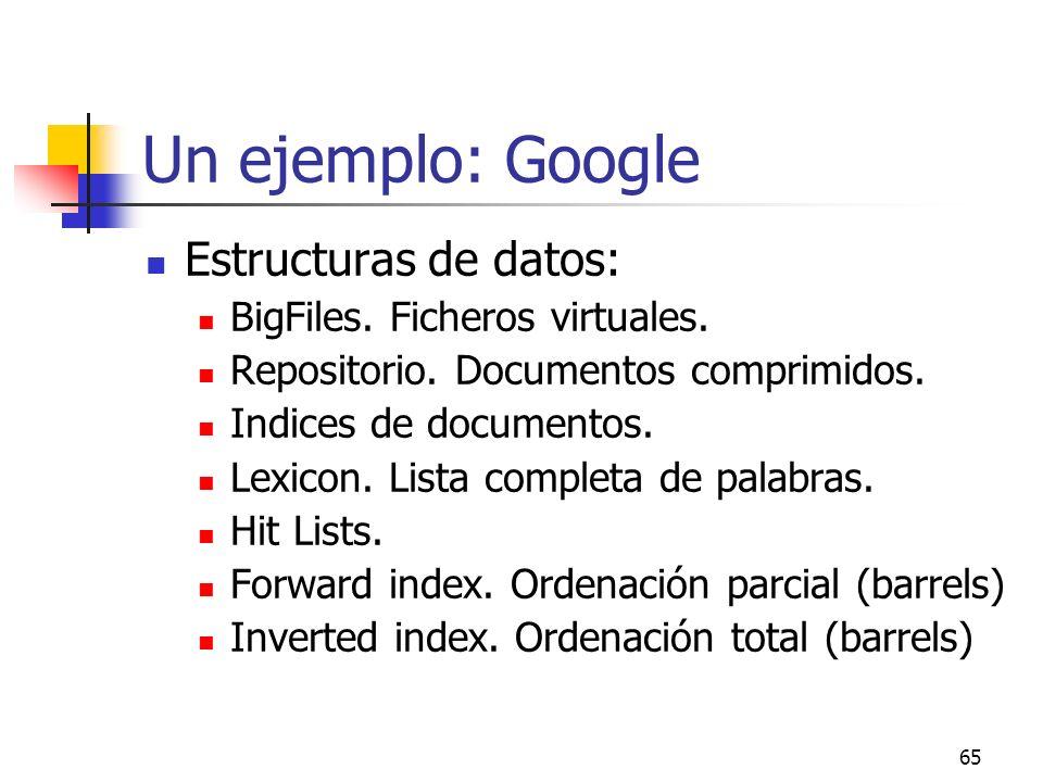 65 Un ejemplo: Google Estructuras de datos: BigFiles. Ficheros virtuales. Repositorio. Documentos comprimidos. Indices de documentos. Lexicon. Lista c