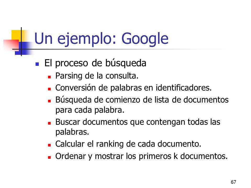 67 Un ejemplo: Google El proceso de búsqueda Parsing de la consulta. Conversión de palabras en identificadores. Búsqueda de comienzo de lista de docum