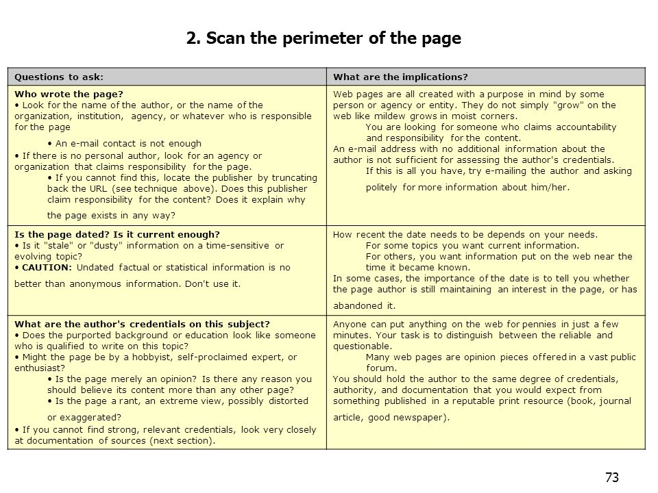 73 Evaluar páginas 2. Scan the perimeter of the page Questions to ask:What are the implications? Who wrote the page? Look for the name of the author,