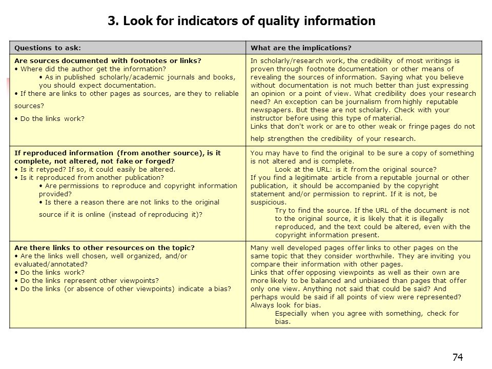 74 Evaluar páginas 3. Look for indicators of quality information Questions to ask:What are the implications? Are sources documented with footnotes or