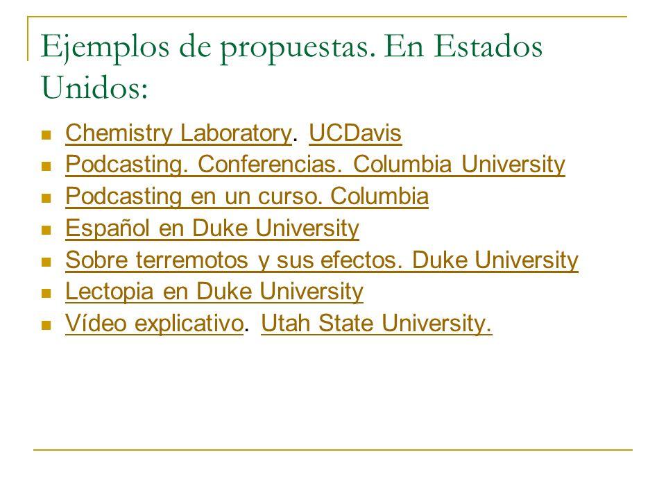 Ejemplos de propuestas. En Estados Unidos: Chemistry Laboratory. UCDavis Chemistry LaboratoryUCDavis Podcasting. Conferencias. Columbia University Pod