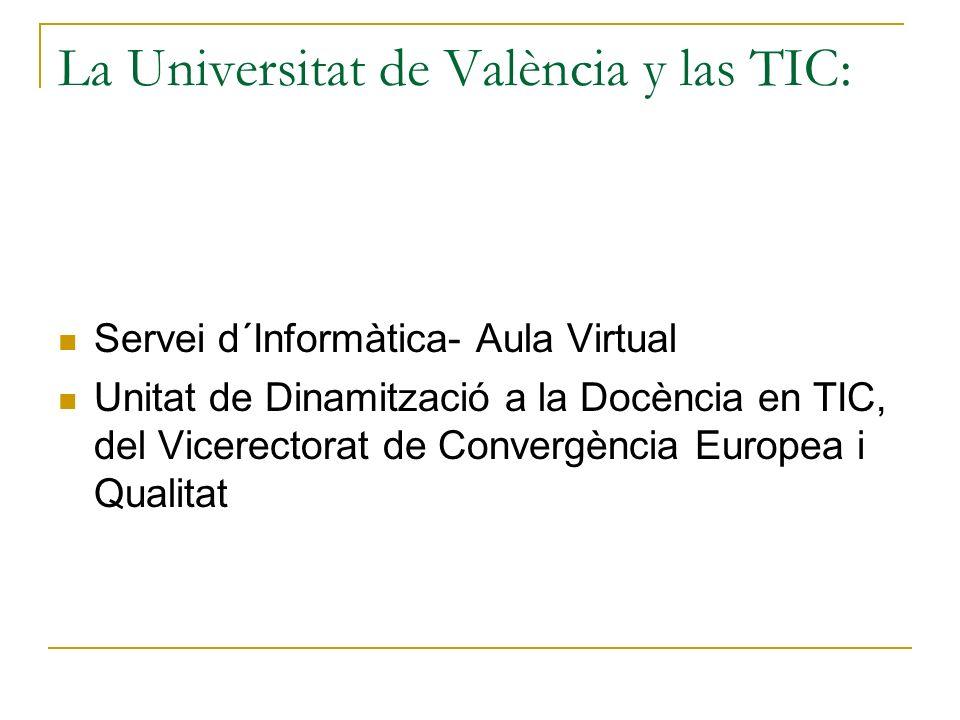La Universitat de València y las TIC: Servei d´Informàtica- Aula Virtual Unitat de Dinamització a la Docència en TIC, del Vicerectorat de Convergència Europea i Qualitat