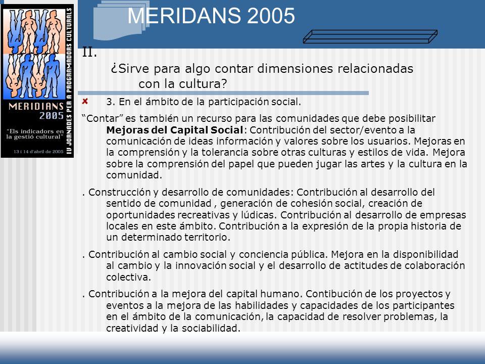 MERIDANS 2005 3. En el ámbito de la participación social.