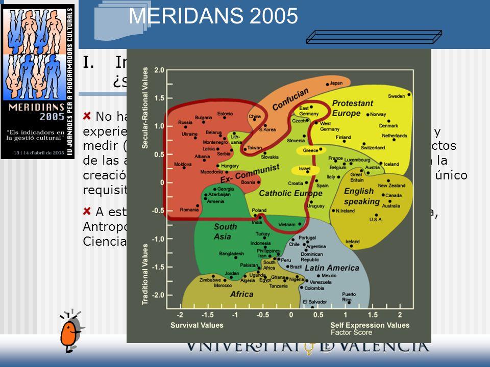 MERIDANS 2005 No hay ninguna duda, existen numerosas técnicas y experiencias que nos evidencian la posibilidad de contar y medir (y en consecuencia evaluar) los procesos y los efectos de las actividades (públicas y privadas) relacionadas con la creación, producción, distribución y consumo cultural.