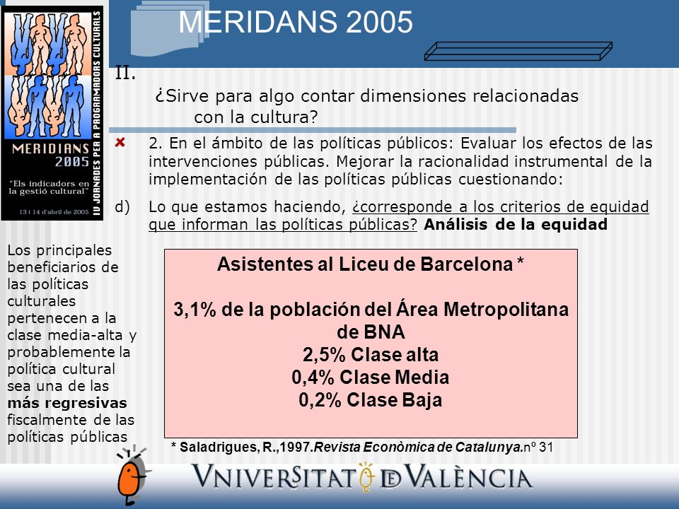 MERIDANS 2005 IV. Información sobre la realidad cultural local. Fuentes locales y SGAE Programación
