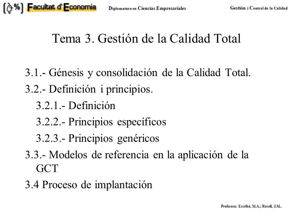 D iplomatura en Ciencias Empresariales Gestión i C ontrol de la Calidad Profesora: Escribá, M.A.; Rosell, J.M..