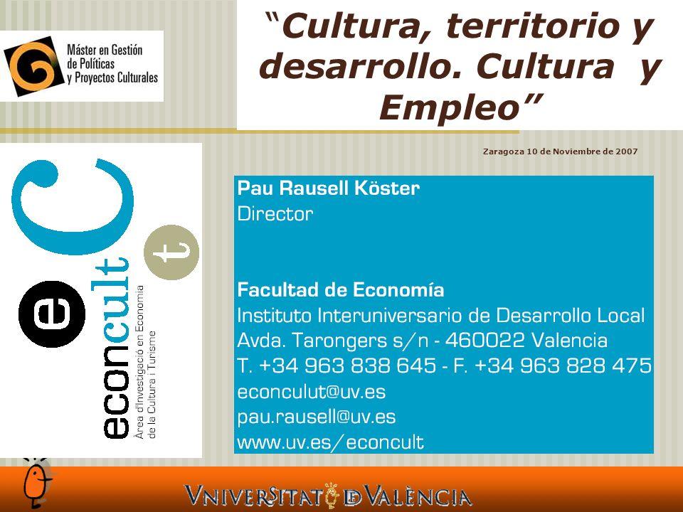 Cultura, territorio y desarrollo. Cultura y Empleo Zaragoza 10 de Noviembre de 2007