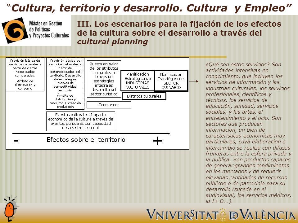 Cultura, territorio y desarrollo. Cultura y Empleo ¿Qué son estos servicios.