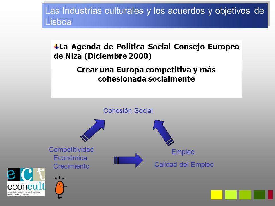 La Agenda de Política Social Consejo Europeo de Niza (Diciembre 2000) Crear una Europa competitiva y más cohesionada socialmente Competitividad Económica.