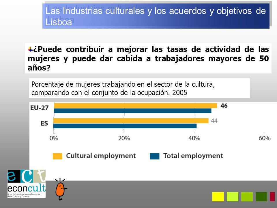 Las Industrias culturales y los acuerdos y objetivos de Lisboa ¿Puede contribuir a mejorar las tasas de actividad de las mujeres y puede dar cabida a trabajadores mayores de 50 años.