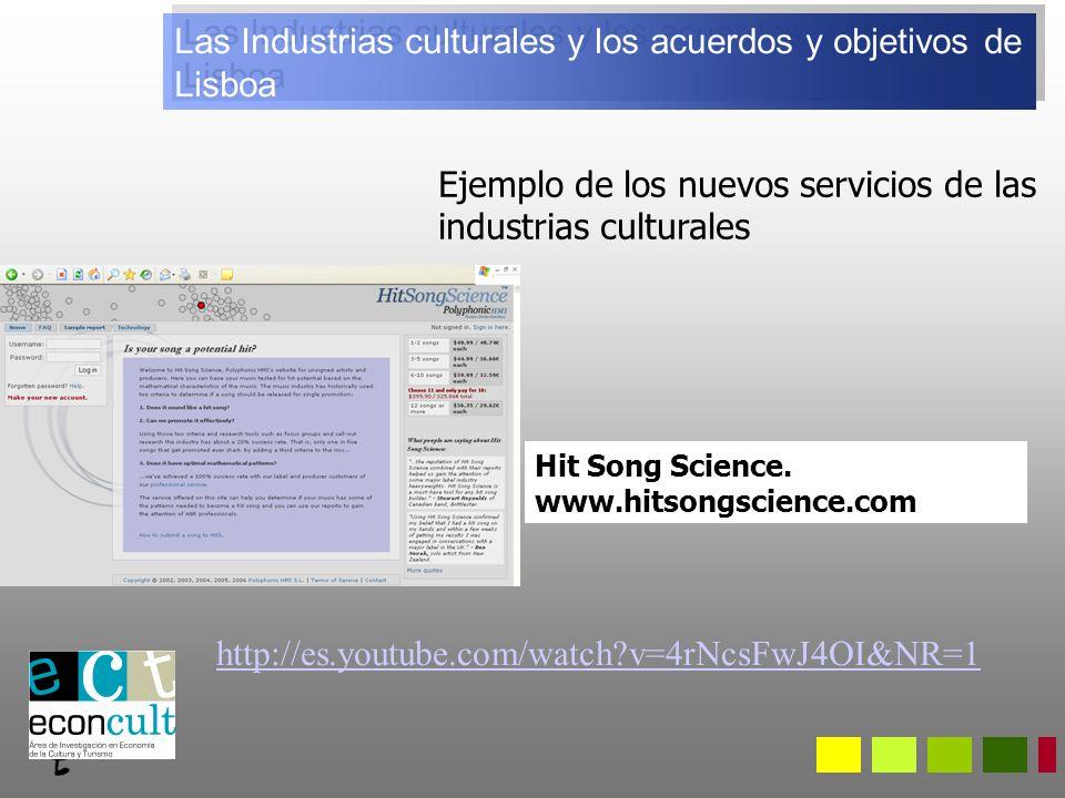 Ejemplo de los nuevos servicios de las industrias culturales Hit Song Science.