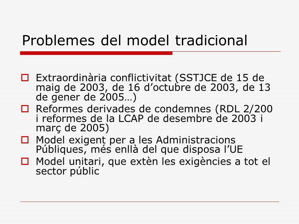 Problemes del model tradicional Extraordinària conflictivitat (SSTJCE de 15 de maig de 2003, de 16 doctubre de 2003, de 13 de gener de 2005…) Reformes
