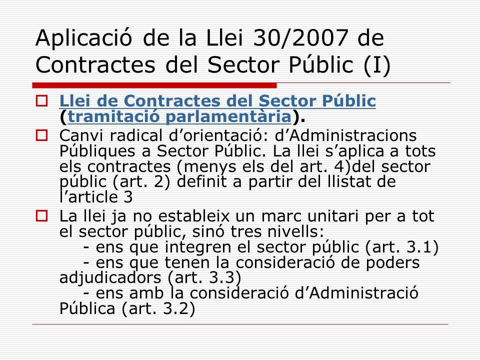 Aplicació de la Llei 30/2007 de Contractes del Sector Públic (I) Llei de Contractes del Sector Públic (tramitació parlamentària). Llei de Contractes d