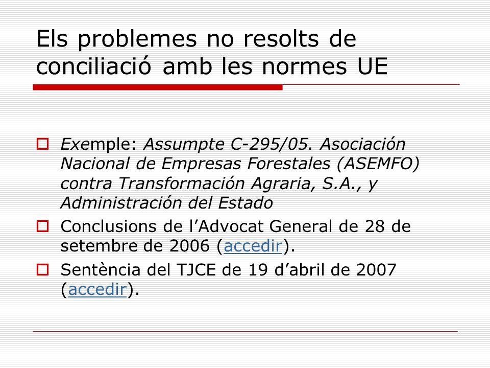 Els problemes no resolts de conciliació amb les normes UE Exemple: Assumpte C 295/05. Asociación Nacional de Empresas Forestales (ASEMFO) contra Trans