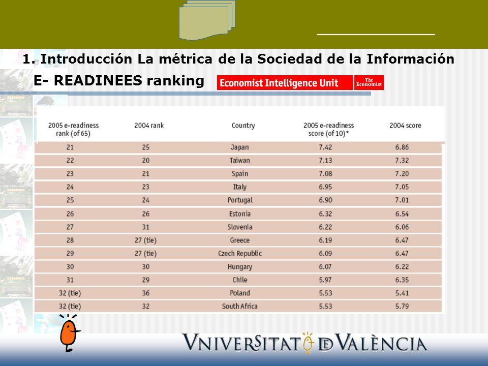 E- READINEES ranking 1. Introducción La métrica de la Sociedad de la Información