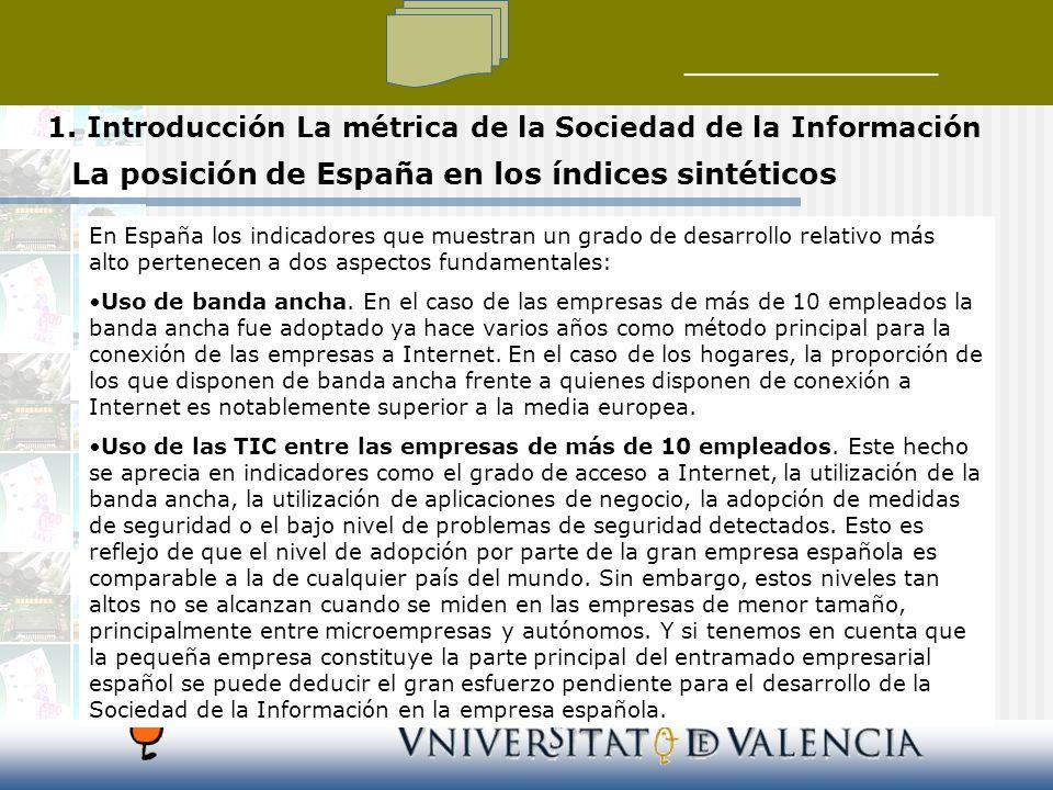 La posición de España en los índices sintéticos En España los indicadores que muestran un grado de desarrollo relativo más alto pertenecen a dos aspectos fundamentales: Uso de banda ancha.