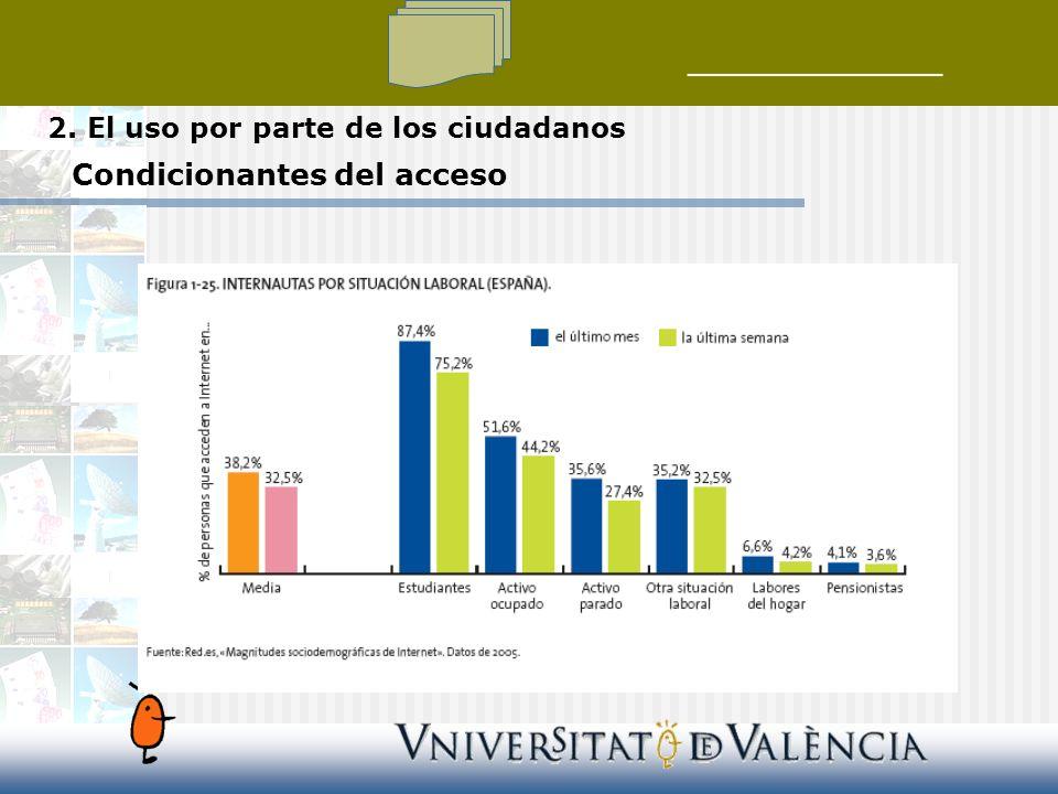2. El uso por parte de los ciudadanos Condicionantes del acceso