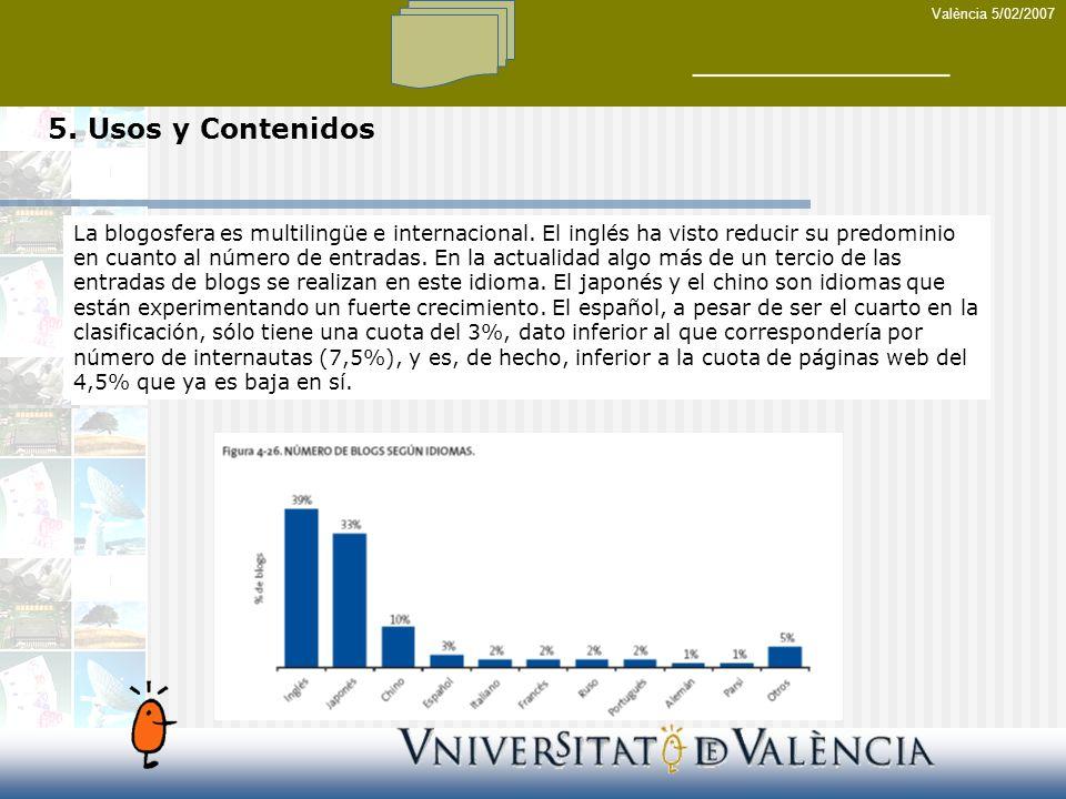 València 5/02/2007 5. Usos y Contenidos La blogosfera es multilingüe e internacional.