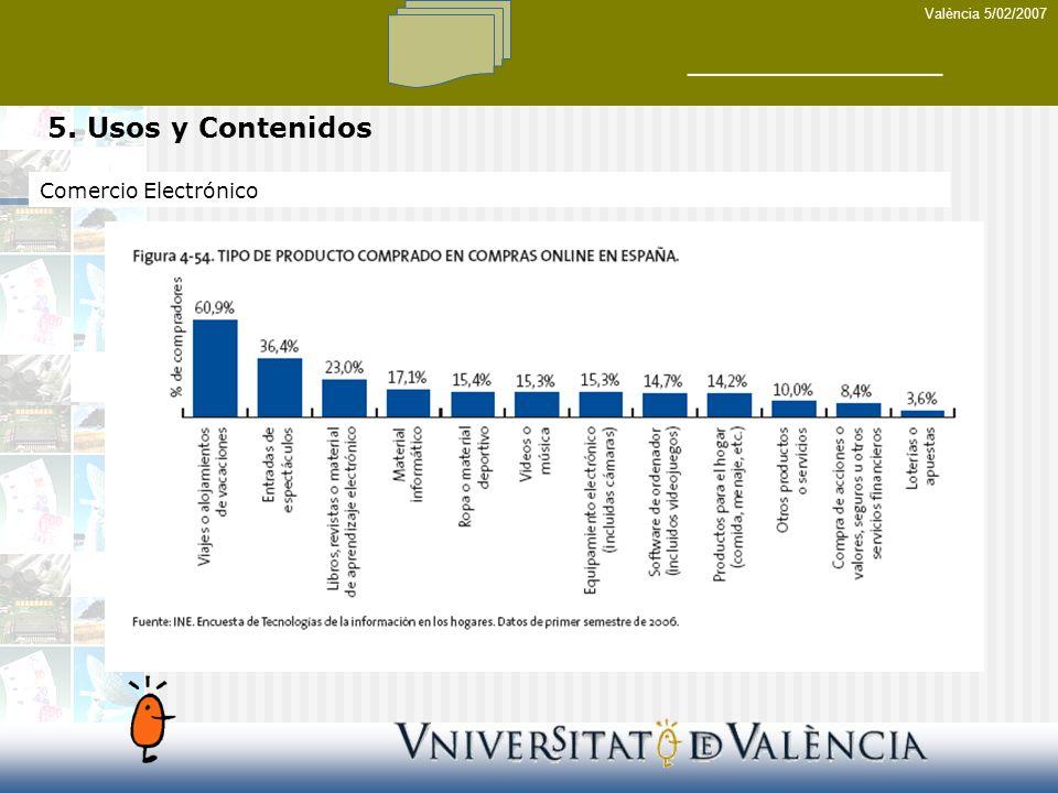 València 5/02/2007 5. Usos y Contenidos Comercio Electrónico