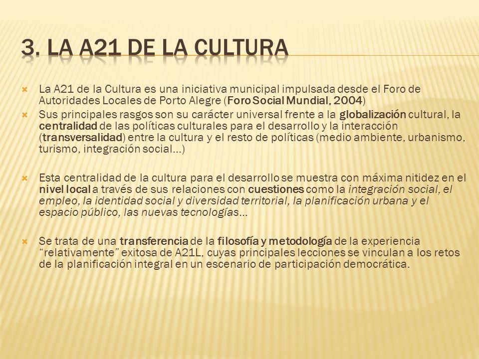 La A21 de la Cultura es una iniciativa municipal impulsada desde el Foro de Autoridades Locales de Porto Alegre (Foro Social Mundial, 2004) Sus princi