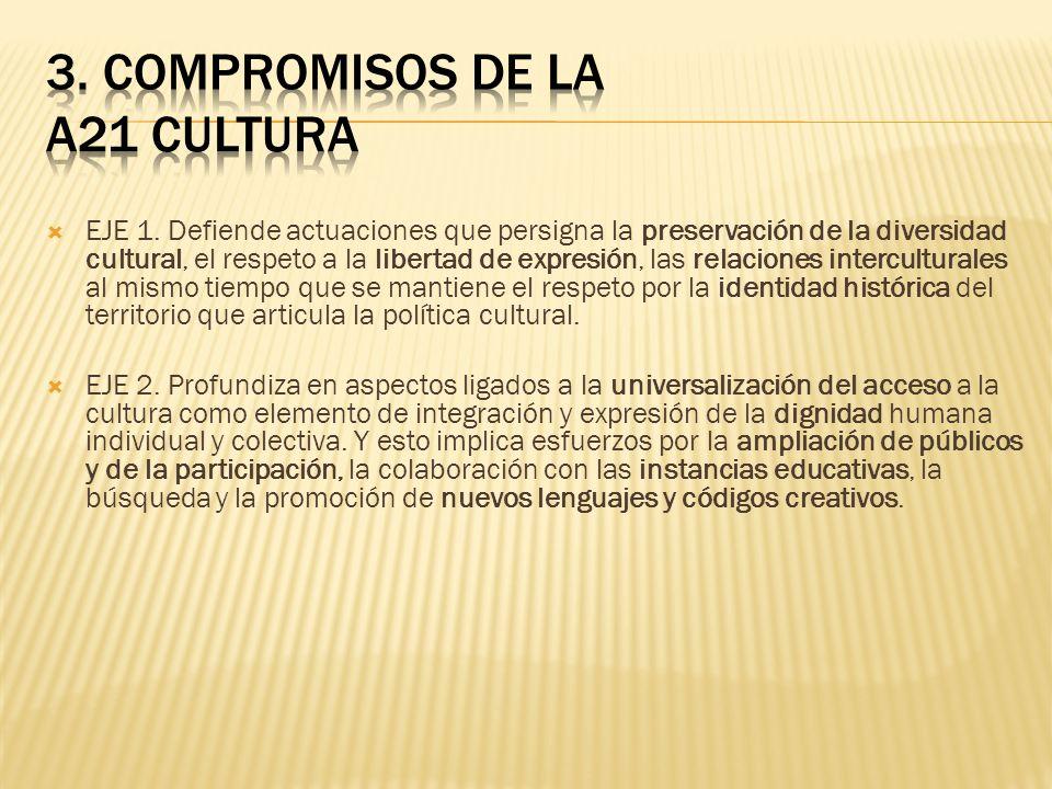 EJE 1. Defiende actuaciones que persigna la preservación de la diversidad cultural, el respeto a la libertad de expresión, las relaciones intercultura