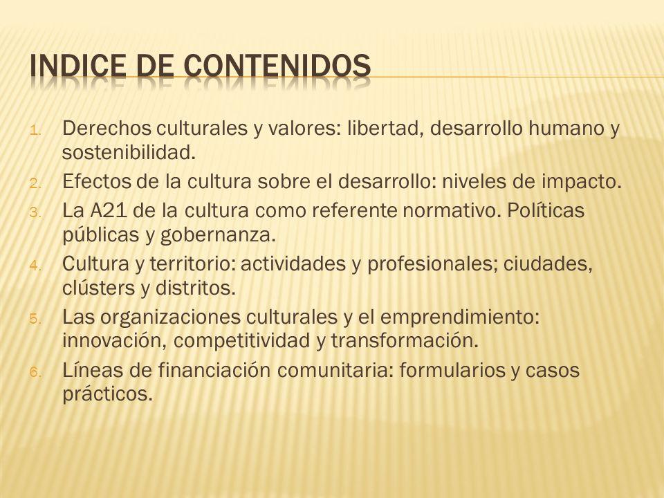 1. Derechos culturales y valores: libertad, desarrollo humano y sostenibilidad. 2. Efectos de la cultura sobre el desarrollo: niveles de impacto. 3. L