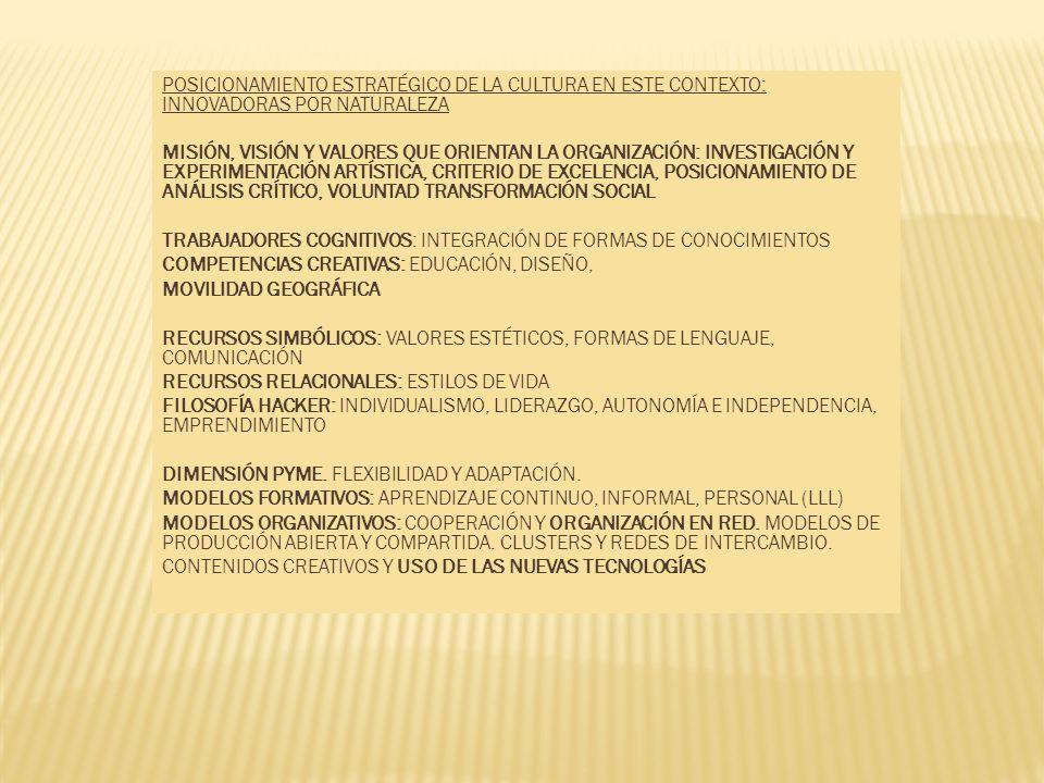 POSICIONAMIENTO ESTRATÉGICO DE LA CULTURA EN ESTE CONTEXTO: INNOVADORAS POR NATURALEZA MISIÓN, VISIÓN Y VALORES QUE ORIENTAN LA ORGANIZACIÓN: INVESTIG