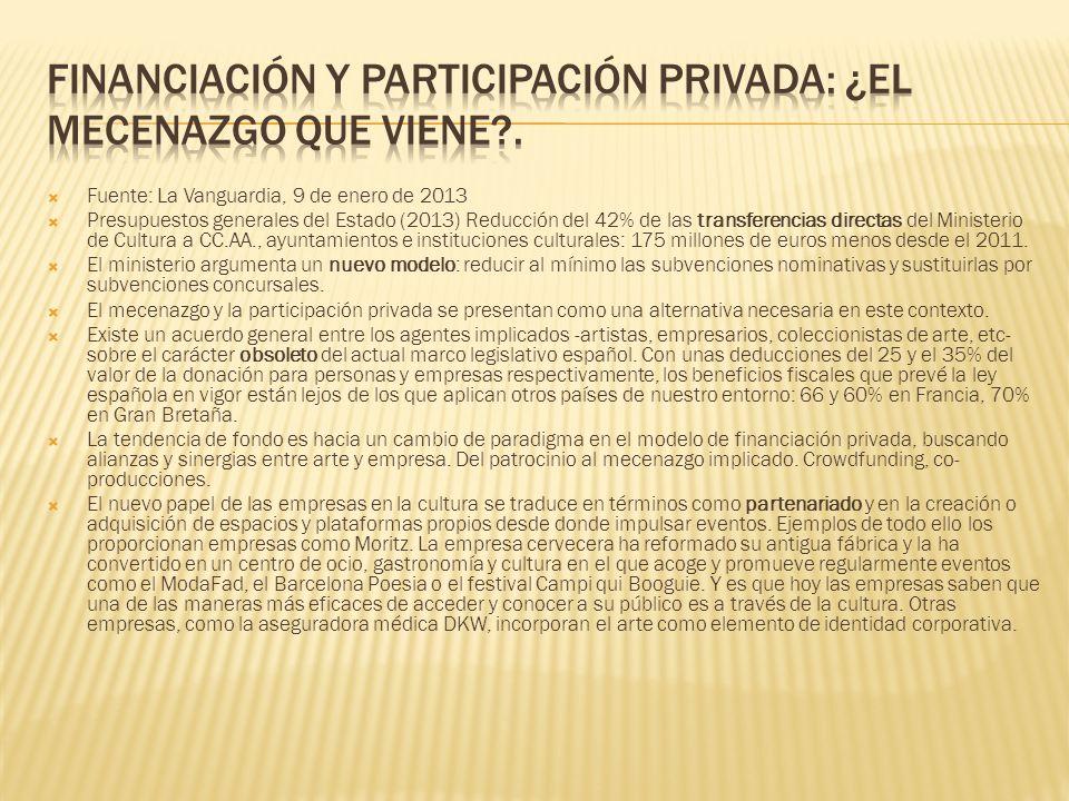 Fuente: La Vanguardia, 9 de enero de 2013 Presupuestos generales del Estado (2013) Reducción del 42% de las transferencias directas del Ministerio de
