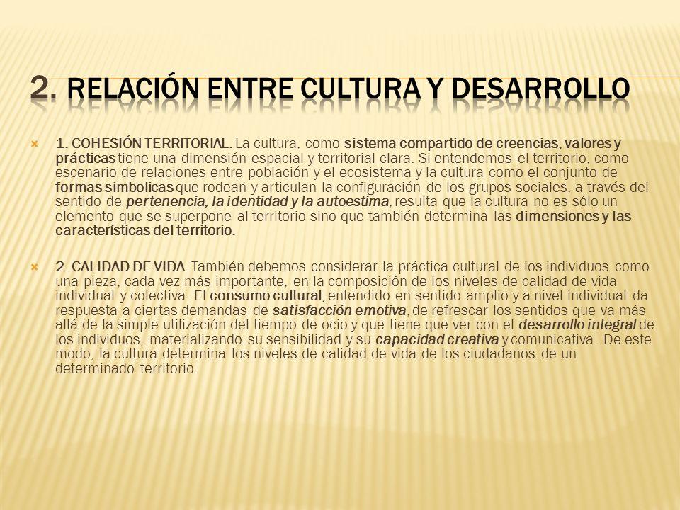 1. COHESIÓN TERRITORIAL. La cultura, como sistema compartido de creencias, valores y prácticas tiene una dimensión espacial y territorial clara. Si en