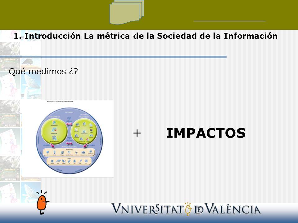 Qué medimos ¿ + IMPACTOS 1. Introducción La métrica de la Sociedad de la Información