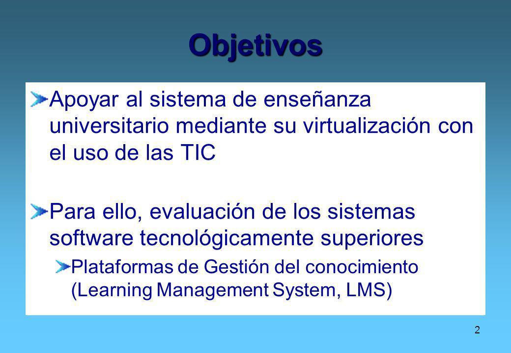 2 Objetivos Apoyar al sistema de enseñanza universitario mediante su virtualización con el uso de las TIC Para ello, evaluación de los sistemas softwa
