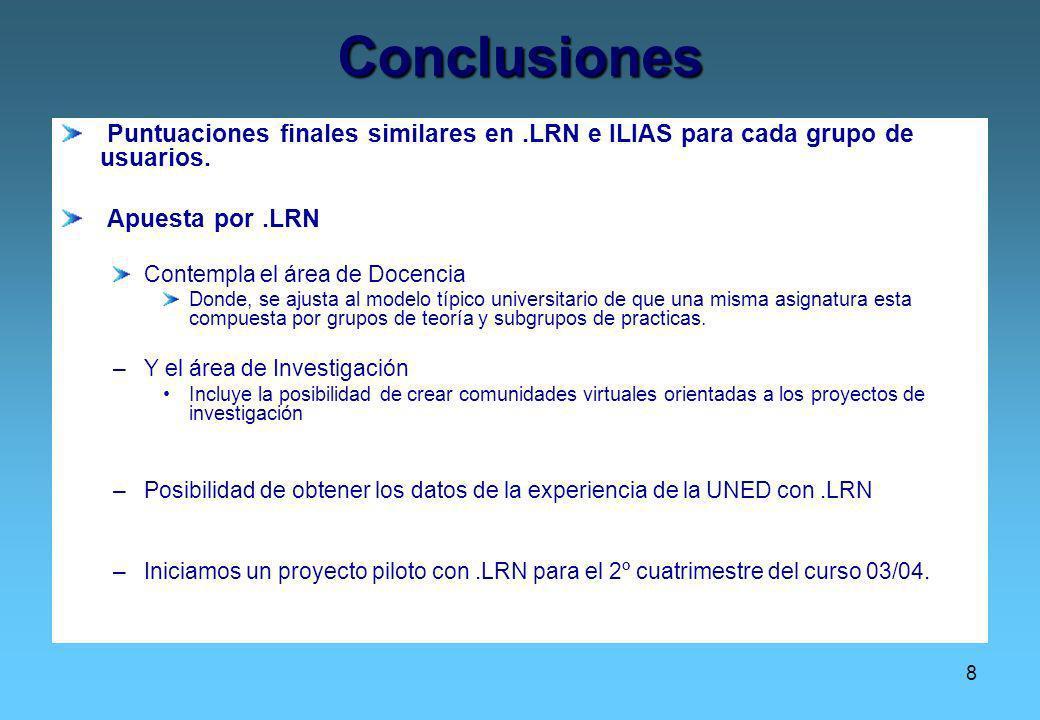8 Conclusiones Puntuaciones finales similares en.LRN e ILIAS para cada grupo de usuarios. Apuesta por.LRN Contempla el área de Docencia Donde, se ajus
