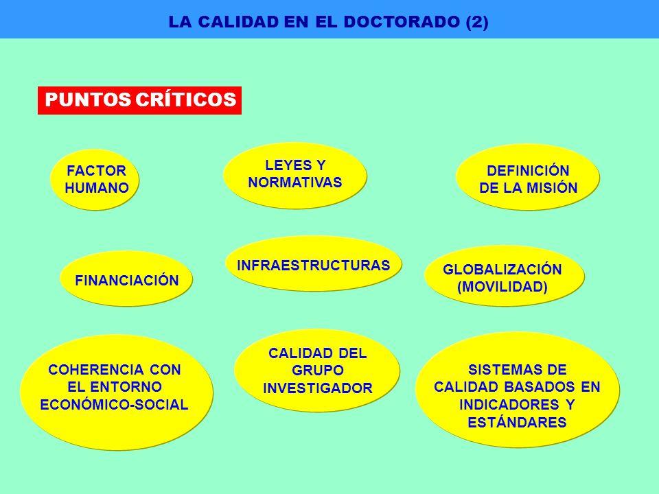 FACTOR HUMANO LEYES Y NORMATIVAS DEFINICIÓN DE LA MISIÓN FINANCIACIÓN INFRAESTRUCTURAS GLOBALIZACIÓN (MOVILIDAD) COHERENCIA CON EL ENTORNO ECONÓMICO-SOCIAL SISTEMAS DE CALIDAD BASADOS EN INDICADORES Y ESTÁNDARES CALIDAD DEL GRUPO INVESTIGADOR LA CALIDAD EN EL DOCTORADO (2) PUNTOS CRÍTICOS
