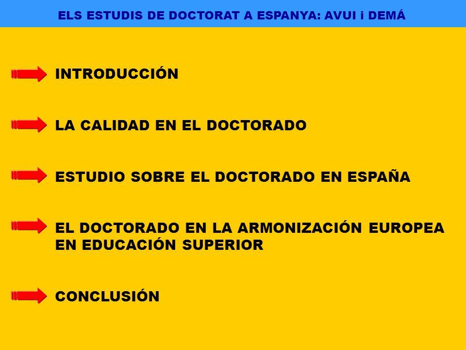 ELS ESTUDIS DE DOCTORAT A ESPANYA: AVUI i DEMÁ INTRODUCCIÓN LA CALIDAD EN EL DOCTORADO ESTUDIO SOBRE EL DOCTORADO EN ESPAÑA EL DOCTORADO EN LA ARMONIZACIÓN EUROPEA EN EDUCACIÓN SUPERIOR CONCLUSIÓN