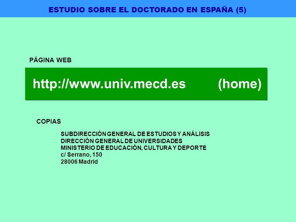 PÁGINA WEB COPIAS SUBDIRECCIÓN GENERAL DE ESTUDIOS Y ANÁLISIS DIRECCIÓN GENERAL DE UNIVERSIDADES MINISTERIO DE EDUCACIÓN, CULTURA Y DEPORTE c/ Serrano, 150 28006 Madrid http://www.univ.mecd.es (home) ESTUDIO SOBRE EL DOCTORADO EN ESPAÑA (5)